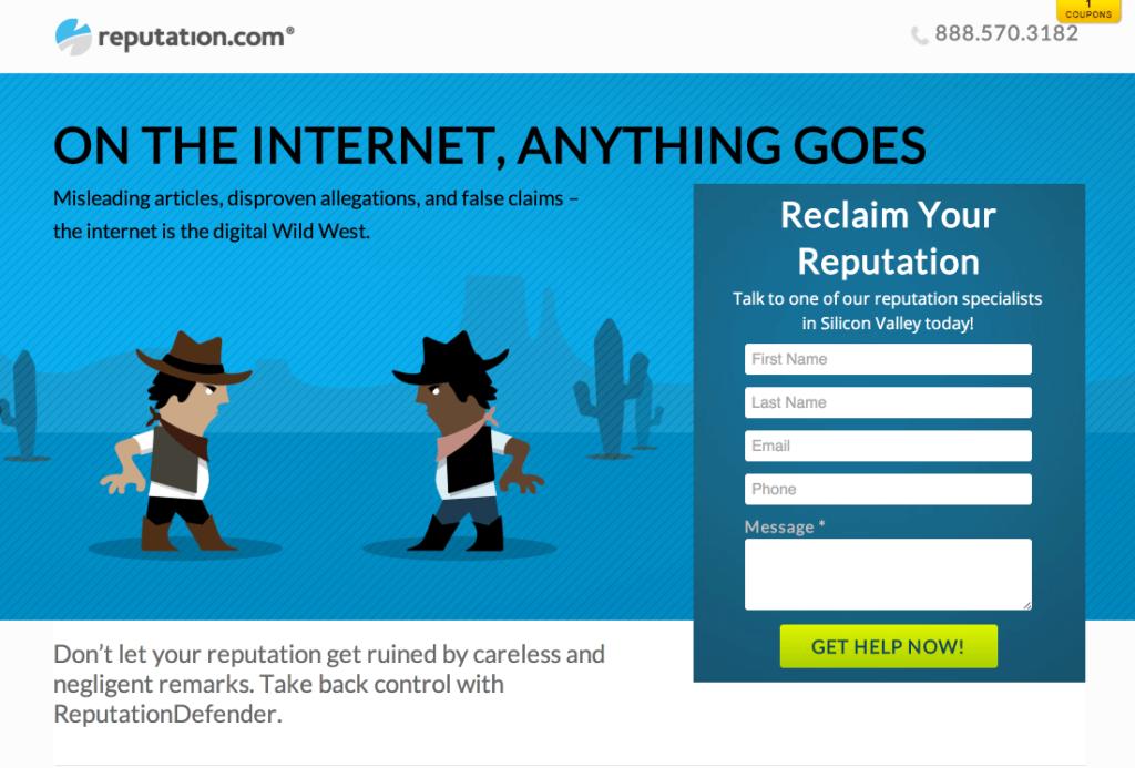 landing-page-essentials-reputation-com ist ein beispiel für vergnügen auf Landingpages