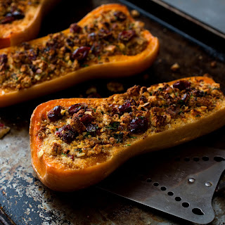 Twice-Baked Butternut Squash With Cashew Cheese, Walnuts and Cranberries