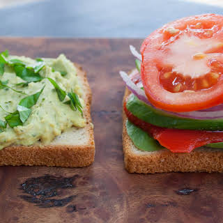 Veggie Sandwich with Basil Pesto Hummus.