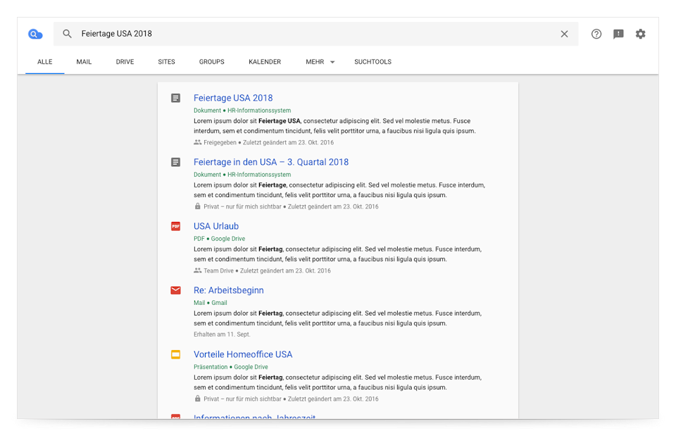 Cloud Search-Browseransicht