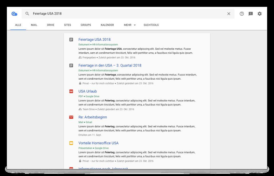 Cloud Search-Browseransicht