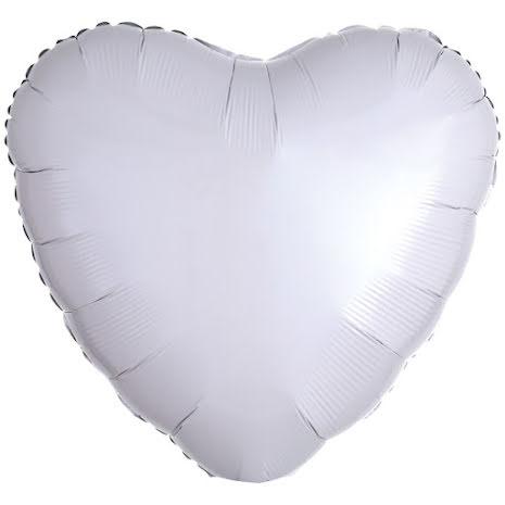 Folieballong, hjärta metallic vit 43 cm