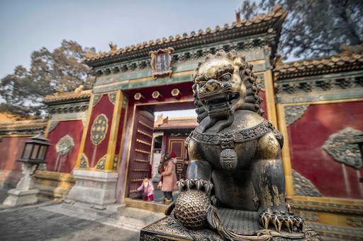 Beijing-Gate-of-Supreme-Harmony - Guardian lion of Gate of Supreme Harmony (Taihe men) in the Forbidden City area of Beijing.