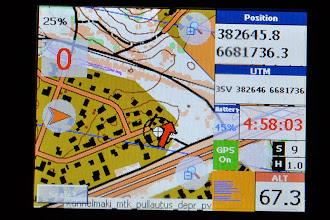 Photo: Karttapullautin map in Oziexplorer CE (http://www.oziexplorer.com/), installed into a small handheld GPS device running Windows CE