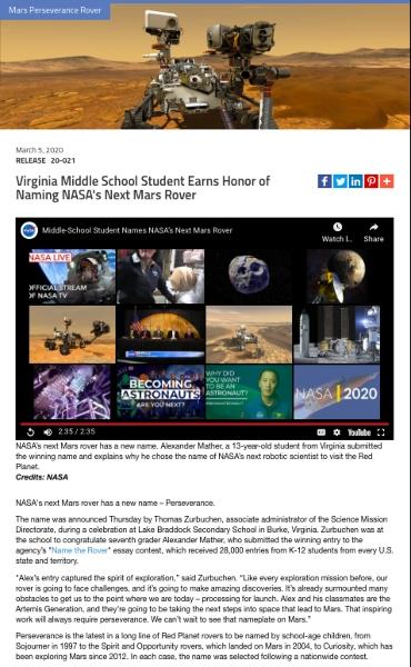 Nasa example acquisition announcement press release.