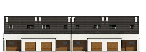 Makolągwa z garażem 1-st. szeregówka A-SZ - Elewacja przednia