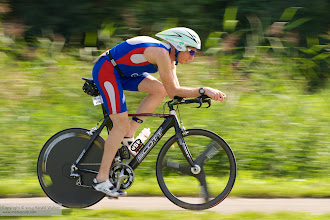Photo: Benjamin Ward from Loughborough (Great Britain) on the bike during the 2008 ITU Long Distance Triathlon World Championships in Almere (The Netherlands, 2008-08-31). He finished as 14th in the Men Age Group 30-34.