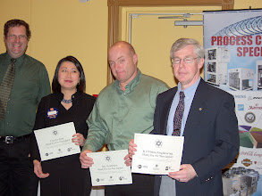 Photo: The second category of investors recognized was for investment between $250 and $500; From left to right:  Dave Rasmussen (RVC for RP), Lan Chi Nguyen Thi (accepting fro Gemma Kerr), Paul Pilotte (accepting for Ray Rochefort of Seimens), and Chris Frauley (accepting for McKee Engineering).