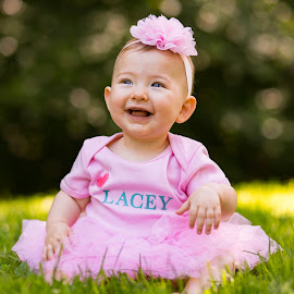 Lacey Tutu by Marco Vergara - Babies & Children Child Portraits ( pink, baby girl, 1 year, tutu, grass, baby, bokeh, smile )
