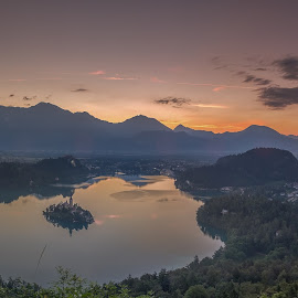Wish you were here by Bor Rojnik - Landscapes Sunsets & Sunrises ( slovenia, morning glory, bled, cloudscape, reflections, lake, july, sunrise, sunlight, morning, sun )