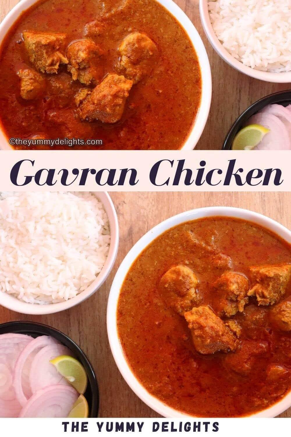 gavran chicken curry served in a white bowl. It is served with a bowl of steamed rice and onion slices, and lemon wedge.