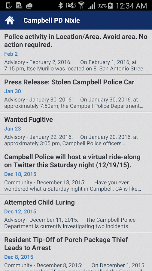 Campbell Police Department- screenshot