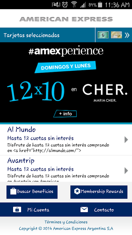 American Express Móvil- screenshot