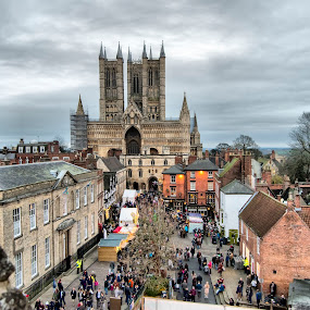 Lincoln Cathedral  by Kellee Wright - Buildings & Architecture Public & Historical ( building, market, church, historic district, cathedral, architecture, historic,  )