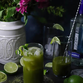Matcha, Mint & Lime Vodka Cocktails.