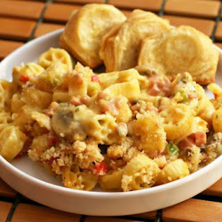 Chicken and Pasta Potluck Casserole with Cheese.