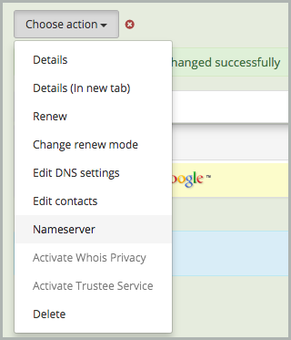 Nameserver is selected from the Choose Action drop-down list.