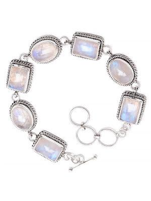 Regnbågsmånsten armband med silverlänkar och filigran