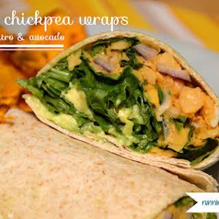 Spicy Chickpea Wraps with Cilantro and Avocado.