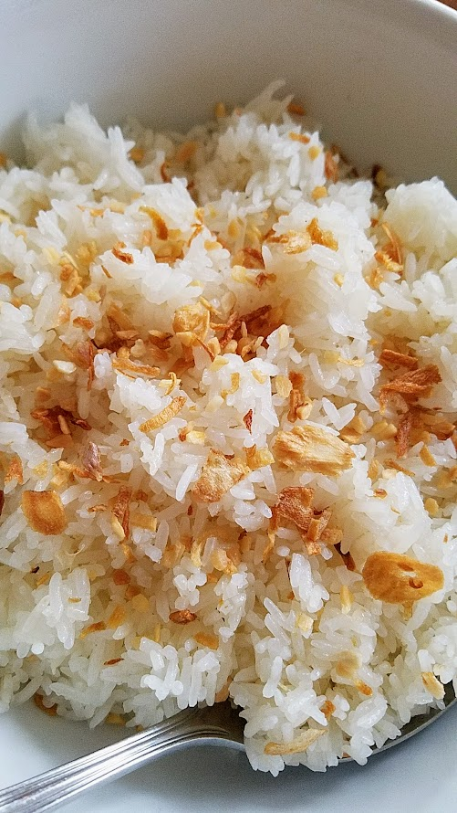 JunJun Jollibee Dinner held at Cooper's Hall celebrating and inspired by the iconic fast food chain: Garlic Fried Rice, a plate of jasmine rice lightly fried with garlic and butter