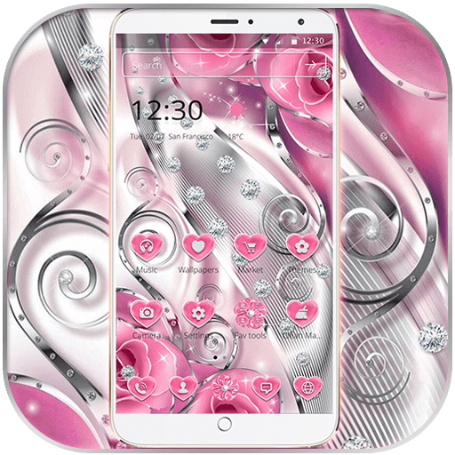 Pink Rose Love Diamond Theme file APK for Gaming PC/PS3/PS4 Smart TV