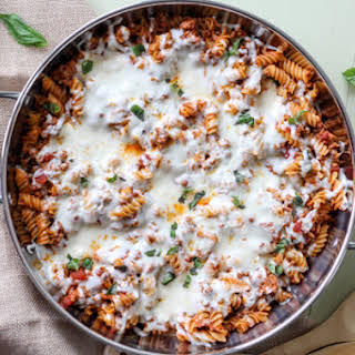 Pasta and Meat in Skillet.