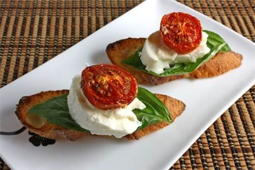 """Burrata Crostini With Roasted Tomatoes""""I decided to keep it simple and served..."""