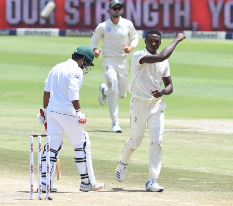 Kagiso Rabada of the Proteas celebrates the wicket of Sarfraz Ahmed of Pakistan for 50 runs during day 2 of the 3rd Castle Lager Test match between South Africa and Pakistan at Bidvest Wanderers Stadium on January 12 2018.