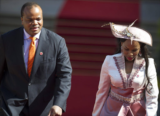 The King of Swaziland King Mswati III arrives at the inauguration of the President Jacob Zuma at the Union Building in Pretoria. EPA/MUJAHID SAFODIEN