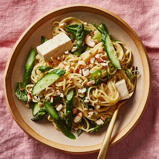 Miso-Tahini Noodles with Asparagus and Tofu.