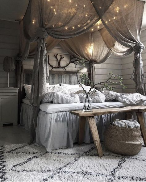 Gray and White Bedroom in Rustic Look