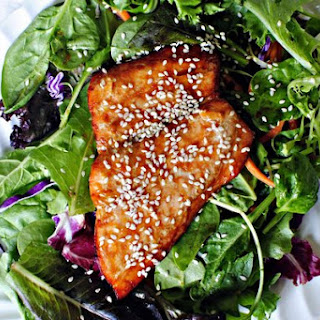 Salad With Salmon And Red Cabbage.