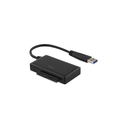 """DELTACO USB 3.0 till SATA 6Gb/s adapter, för 2,5"""" hårddiskar, svart"""