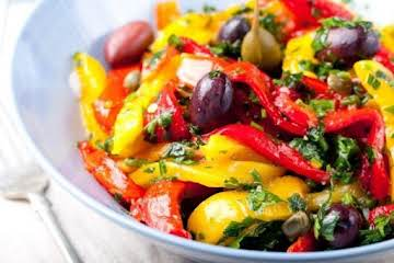Grilled Pepper and Crunchy Caper Salad