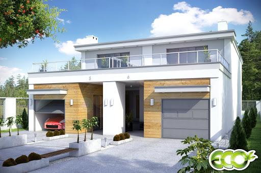 projekt Long z garażem 1-st. bliźniak A-BL2