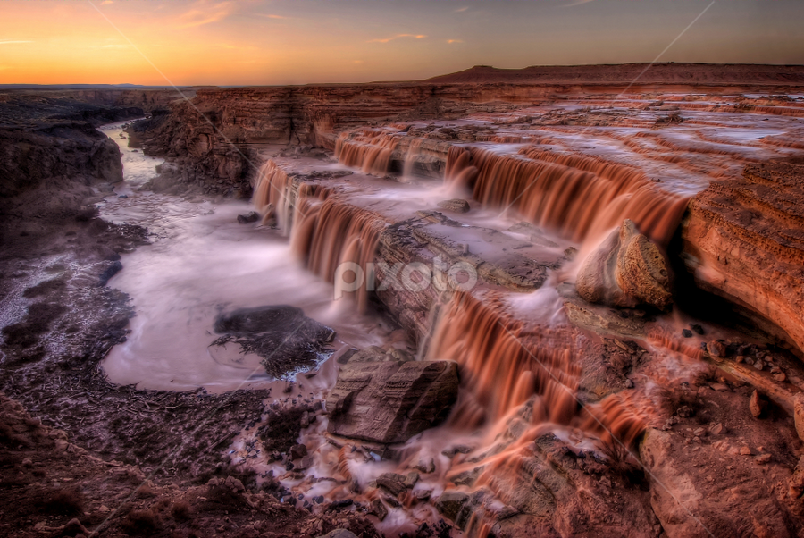 Grand Falls (Chocolate Falls) at Sunset Navajo Nation, Arizona. by Cliff LaPlant - Landscapes Waterscapes ( little colorado river, waterfall, beauty, hiking, navajo, grand, camping, little colorado, sierralara, arizona, nikon, light, evening, water, desert, indian, tribal, dusk, nation, climbing, chocolate, colorado river, sunset, falls, sunrise, grand falls, river,  )