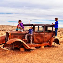 Kids climbing on an old car  by Nelida Dot - Babies & Children Children Candids ( desert, old car, playful, children, happiness,  )