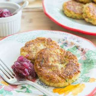 Zucchini Chickpea Fritters with Red Onion Marmalade.