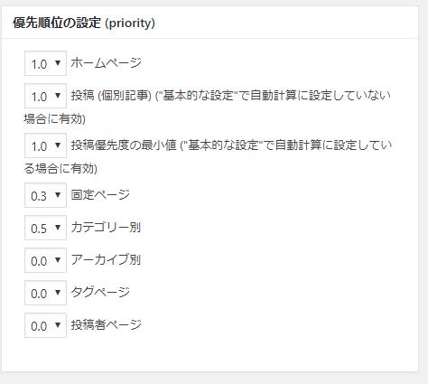 Google XML Sitemapsの優先順位の設定 (priority)