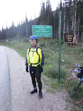 Photo: JLE is watching us at top of Cameron Pass. He took picture for me. OK, I'm ready long down hill!