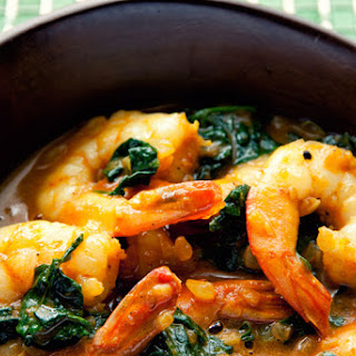 Curried Shrimps And Spinach.