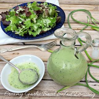 Creamy Garlic Basil Salad Dressing.