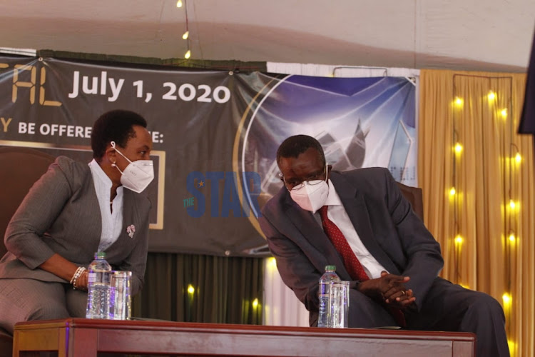 Deputy Chief Justice Philomena Mwilu and Chief Justice David Maraga during the launch of electronic filing on July 1,2020