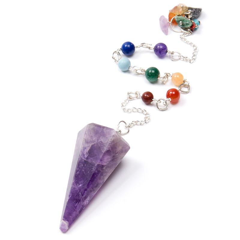 Ametist eller bergkristall, pendel med chakrastenar 6 fasetter