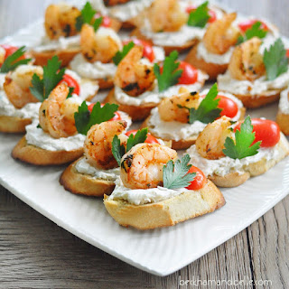Shrimp and Goat Cheese Crostini.