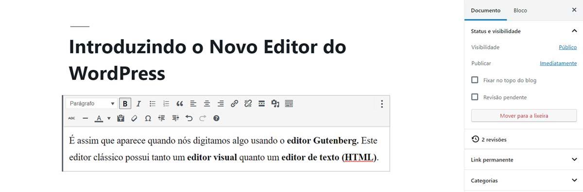Imagem mostra como fica o editor visual do WordPress após a atualização Gutenberg