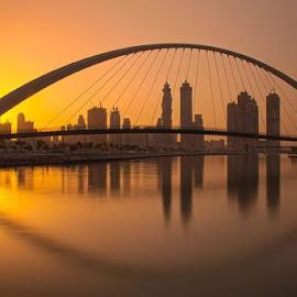 Dubai water canal by Rolly Batacan - Buildings & Architecture Bridges & Suspended Structures ( cityscapes, buildings, sunrise, bridge, landscapes )