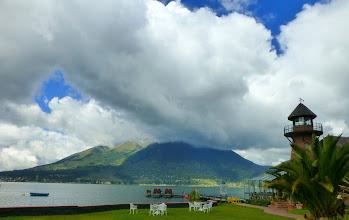 Photo: First view of cloud-shrouded Imbabura volcano from Puerto Lago resort