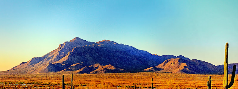 Photo: Mountain Range outside Picacho, Az. Interstate 10, in the foreground, runs north to Phoenix going to the left.