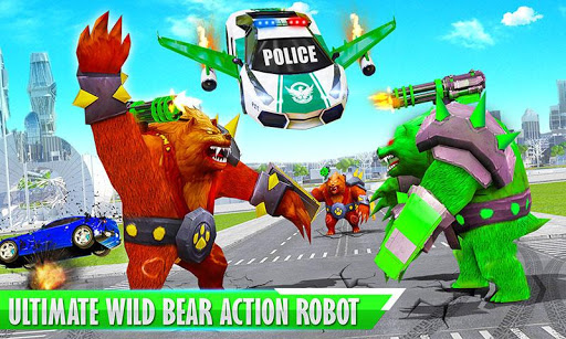 Bear Robot Car Transform: Flying Car Robot War apklade screenshots 2